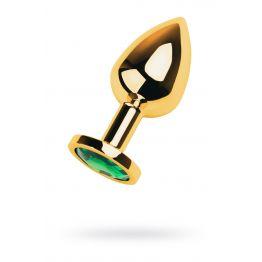 Анальный страз Metal by TOYFA, металл, золотистый, с кристаллом цвета изумруд, 8 см, Ø3,5 см, 85 г
