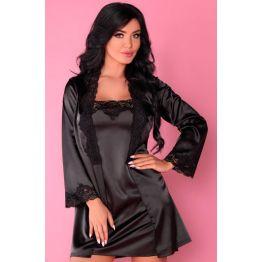 пеньюар, сорочка  и трусики  Jacqueline чёрный (LXL, черный)