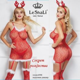 Снегурочка **Новогоднее платье с рожками и чулками с пухом DJ_3756