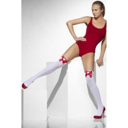 Чулки медсестрички белые, с красными бантами (Fever) (One Size)