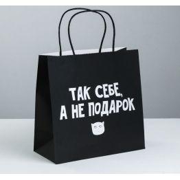 Пакет подарочный Так себе, а не подарок, 22 × 22 × 11 см