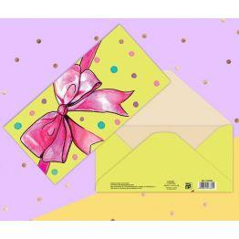 Конверт Розовый бант, 16.5 × 8 см