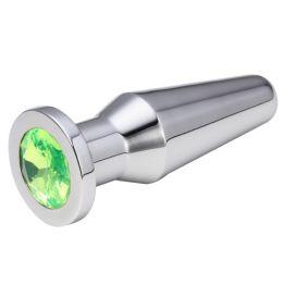 ВТУЛКА АНАЛЬНАЯ СЕРЕБРЯНАЯ цвет кристалла светло - зелёный, L 102 мм, D 32 мм, арт. SMPL-10
