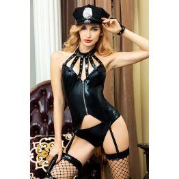 Костюм полицейской Candy Girl Lexie (корсет, танга, головной убор, браслет, чулки, подвязка, пистоле